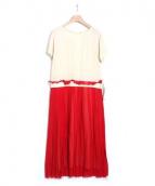 ERIKA CAVALLINI semi-couture(エリカ カヴァリーニセミクチュール)の古着「ドッキングワンピース」|アイボリー×レッド