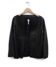 HERMES(エルメス)の古着「ディアスキンノーカラージャケット」|ブラック