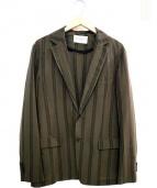 TOMORROW LAND(トゥモローランド)の古着「ストライプテーラードジャケット」|オリーブ