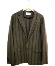 TOMORROW LAND(トゥモローランド)の古着「ストライプテーラードジャケット」 オリーブ