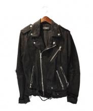 AMIRI(アミリ)の古着「クラッシュデニムライダースジャケット」|ブラック