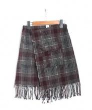 MOUNTAIN RESEARCH(マウンテン リサーチ)の古着「キルトスカート」|グレー×レッド