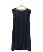 JUSGLITTY luxe(ジャスグリッティー リュクス)の古着「衿ビジューAラインワンピース」|ネイビー