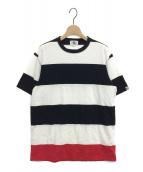 GOOD ENOUGH(グッドイナフ)の古着「ボーダービッグTシャツ」|ホワイト×ブラック