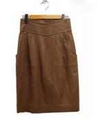 EPOCA(エポカ)の古着「レザースカート」 ベージュ