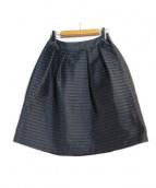 TO BE CHIC(トゥビーシック)の古着「タックボーダースカート」|ブラック