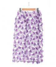 ROSSO(ロッソ)の古着「フリンジタイトスカート」|パープル