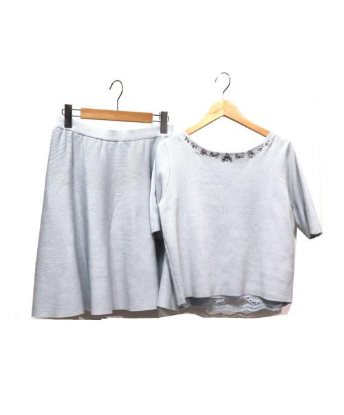 Aquweiser-riche(アクワイザー・リッシェ)Aquweiser-riche (アクワイザー・リッシェ) リバーシブルスカートセットアップ ライトブルー サイズ:2 参考定価¥20.000+税の古着・服飾アイテム