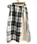 ONEIL OF DUBLIN(オニール オブ ダブリン)の古着「パッチワークスカート」|ブラック×ホワイト