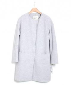ROPE(ロペ)の古着「アンゴラノーカラーシャギーコート」|グレー