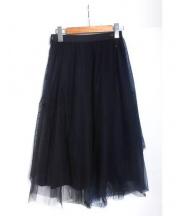 MUVEIL(ミュベール)の古着「ドット刺繍チュールスカート」|ネイビー