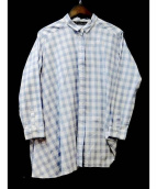 mizuiro-ind(ミズイロインド)の古着「チェックアシンメトリーシャツ」|ホワイト×ネイビー