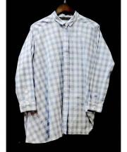mizuiro-ind(ミズイロインド)の古着「チェックアシンメトリーシャツ」 ホワイト×ネイビー