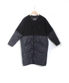 LAVENHAM(ラベンハム)の古着「切替ノーカラーコート」|ブラック