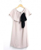 MIU MIU(ミュウミュウ)の古着「オフショルダーリボンデザインワンピース」|ベージュ