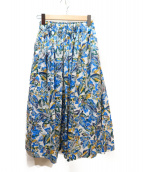 SACRA(サクラ)の古着「フラワープリントギャザースカート」|ブルー