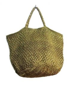 ne quittez pas(ヌキテパ)の古着「メタリッククロシェトートバッグ」|ゴールド
