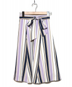 JUSGLITTY(ジャスグリッティー)の古着「Newストライプフレアスカート」|パープル