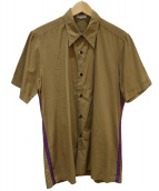 DRIES VAN NOTEN(ドリスヴァンノッテン)の古着「サイドライン半袖シャツ」|ブラウン