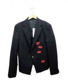 DRESS CAMP(ドレスキャンプ)の古着「リッププリントジャケット」|ブラック