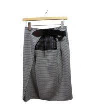 LOUIS VUITTON(ルイ・ヴィトン)の古着「ハウンドトゥースラップスカート」|ブラック×ホワイト
