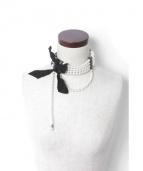 LANVIN(ランバン)の古着「真鍮パールチョーカー」|ブラック