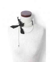 LANVIN(ランバン)の古着「真鍮パールチョーカー」 ブラック