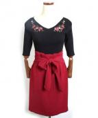 JUSGLITTY(ジャスグリッティー)の古着「刺繍ニット&スカートSET」 ブラック×ボルドー