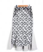 tsumori chisato(ツモリチサト)の古着「ダイヤモンドフラワーJQスカート」|ブラック×ホワイト