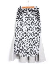tsumori chisato(ツモリチサト)の古着「ダイヤモンドフラワーJQスカート」 ブラック×ホワイト