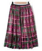 CHESTY(チェスティ)の古着「チェックチュールスカート」|ピンク×グリーン