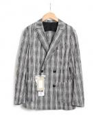 Casely-Hayford(ケイスリーヘイフォード)の古着「チェックダブルブレストジャケット」|グレー