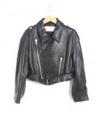 LE CIEL BLEU(ルシェルブルー)の古着「クロップドラムレザーライダース」|ブラック