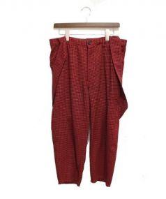 COMME des GARCONS SHIRTS(コムデギャルソンシャツ)の古着「サスペンダー付チェックパンツ」|レッド