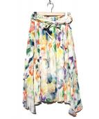 INED(イネド)の古着「フラワープリントスカート」|ホワイト