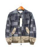 Casely-Hayford(ケイスリーヘイフォード)の古着「THE CROSS切替MA-1 」|インディゴ×オリーブ