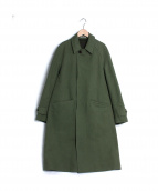 AURALEE(オーラリー)の古着「WASHED DOUBLE CLOTH LONG COAT」|グリーン