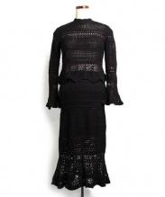 Snidel(スナイデル)の古着「クロシェニットセットアップ」|ブラック