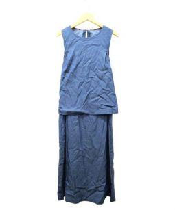 BLUE LABEL CRESTBRIDGE(ブルーレーベル・クレストブリッジ)の古着「レイヤードワンピース」|ブルー