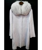 Harrods(ハロッズ)の古着「ファー付アンゴラウールコート」|サックスブルー
