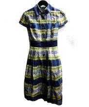 MS GRACY(エムズグレイシー)の古着「チェックシャツワンピース」|ネイビー×イエロー