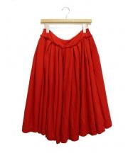 tricot COMME des GARCONS(トリココムデギャルソン)の古着「ボリュームギャザーウールスカート」 レッド