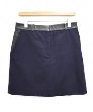 CELINE(セリーヌ)の古着「レザー切替ウールスカート」
