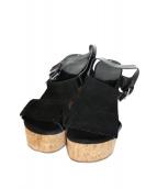 LAOCOONTE(ラオコンテ)の古着「ウェッジソールサンダル」|ブラック