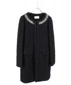 M-premier(エムプルミエ)の古着「パール装飾ノーカラーコート」|ブラック