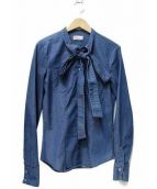 RED VALENTINO(レッドヴァレンティノ)の古着「ボウタイデニムシャツ」|ブルー