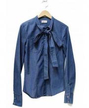 RED VALENTINO(レッドヴァレンティノ)の古着「ボウタイデニムシャツ」 ブルー