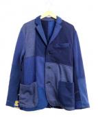 H.R.REMAKE(エイチアールリメイク)の古着「パッチワークスウェットジャケット」|ネイビー