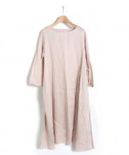 nest Robe(ネストローブ)の古着「リネン天然染めアシンメトリーギャザーワンピース」|ピンク