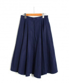 ENFOLD(エンフォルド)の古着「ハイカウントコットンタックフレアスカート」|ネイビー